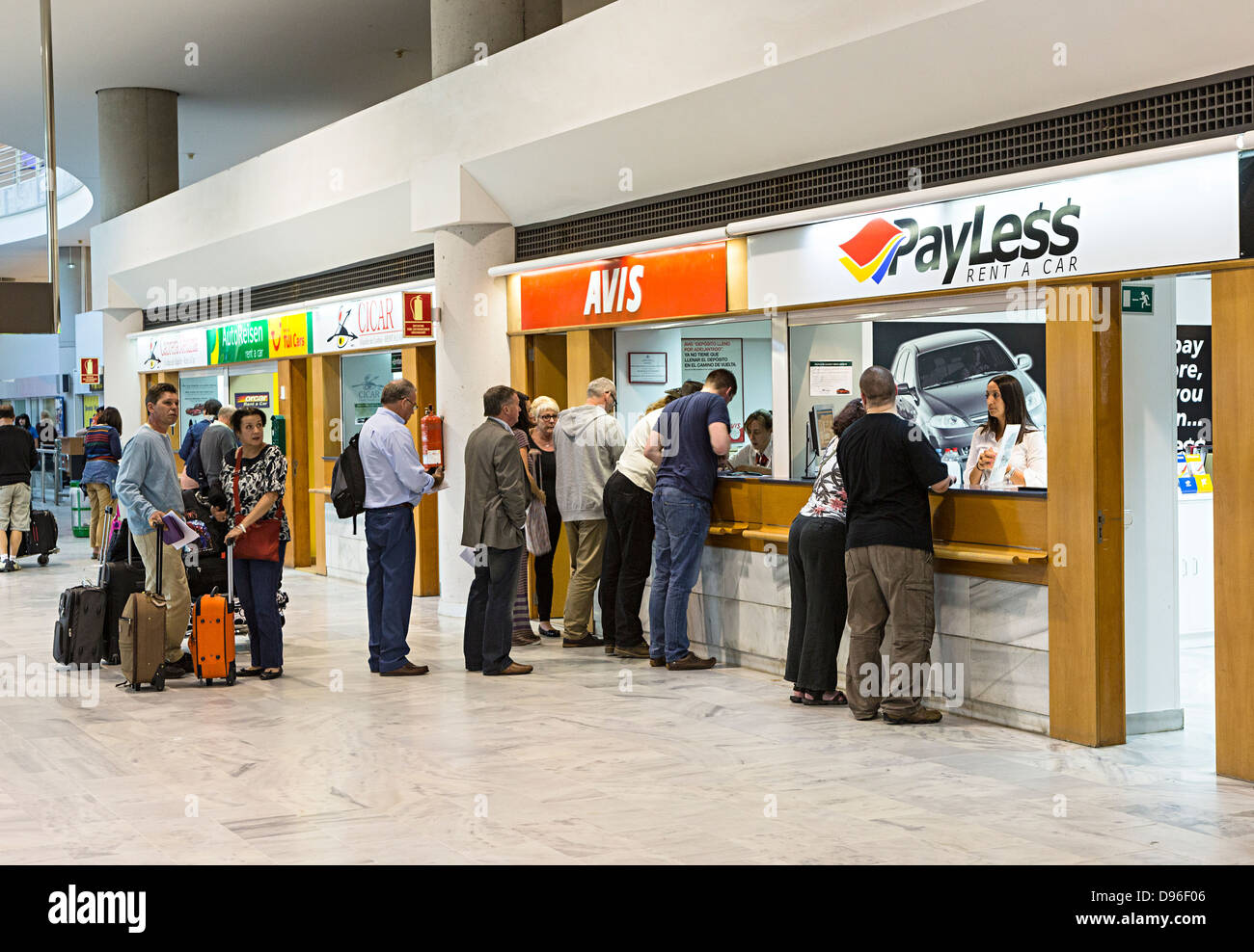 Car hire desks arrecife airport lanzarote canary islands spain stock image