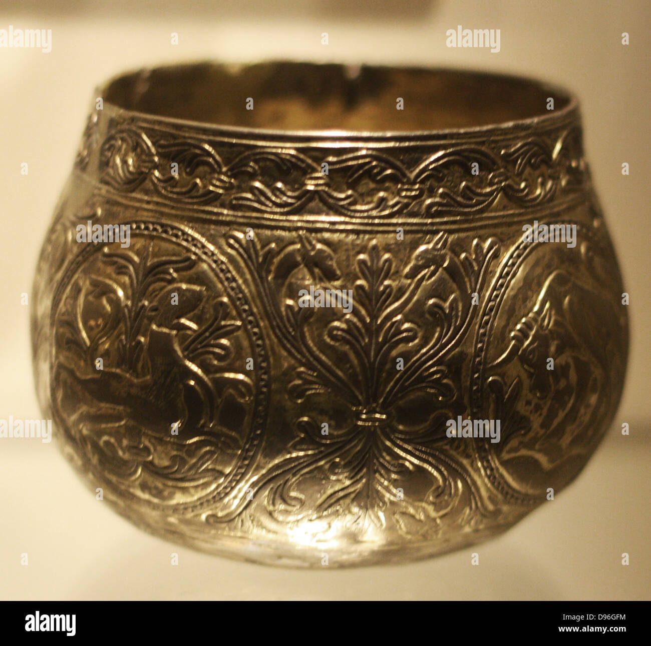 Decorative Viking hoard cups. (Named the Vale of York cup and the Halton  Moor Cup) Made from gold and silver. Decorated with