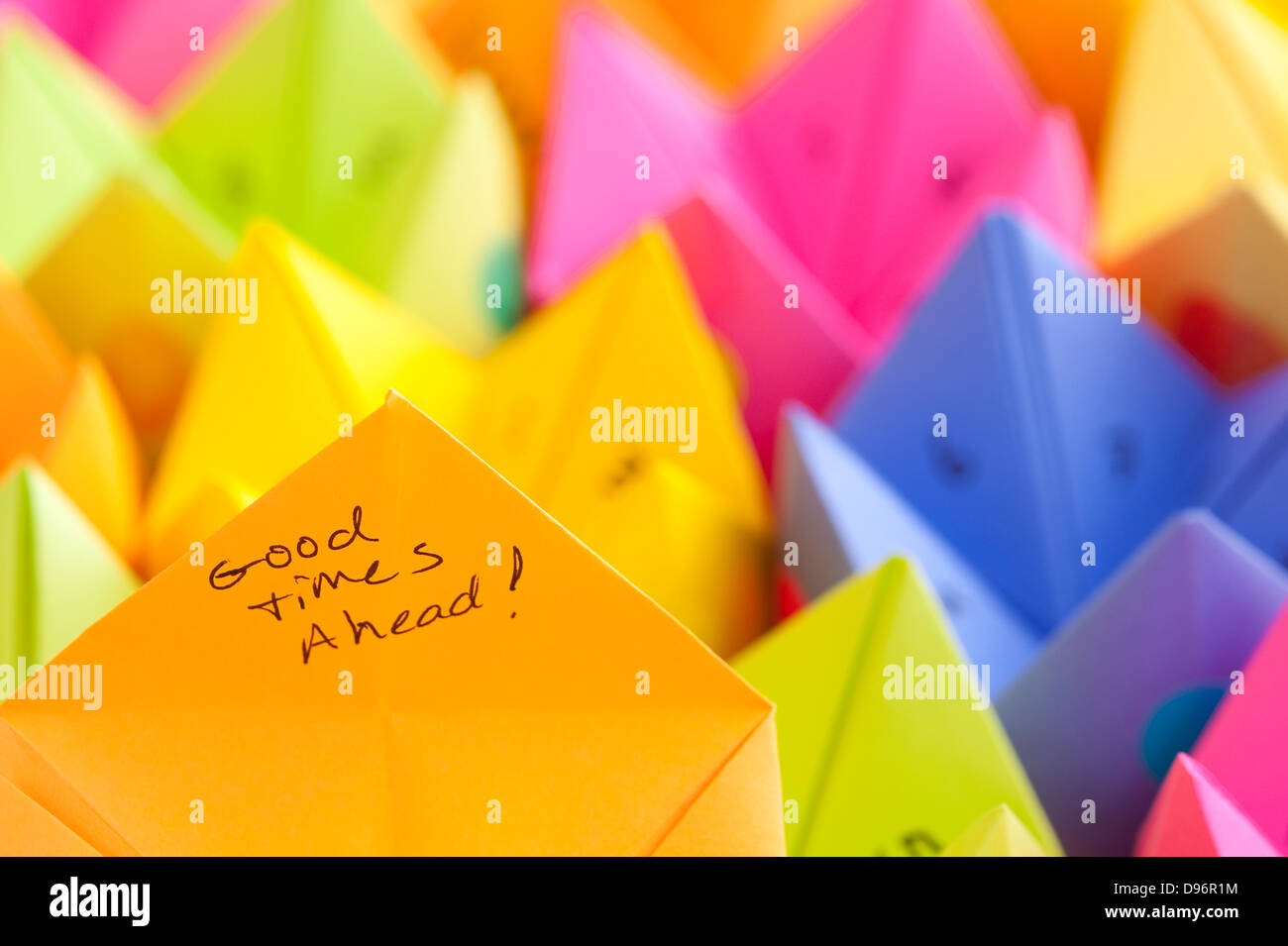 Fortune teller game stock photos fortune teller game stock multicolored cootie catchers with numbers and positive words of encouragement game of chance stock image jeuxipadfo Images