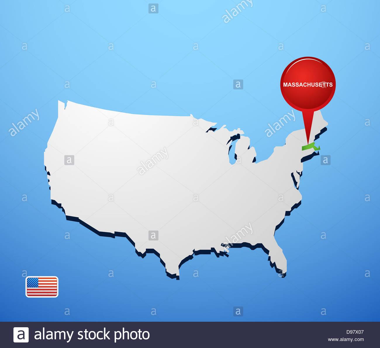 machusetts on usa map