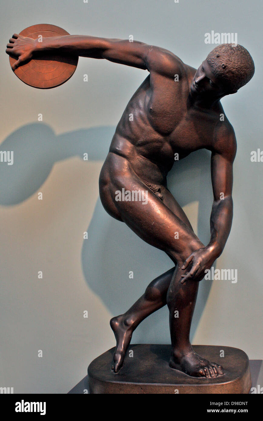 Diskobolos (discus-thrower) of Myron. An athlete is coiled ...