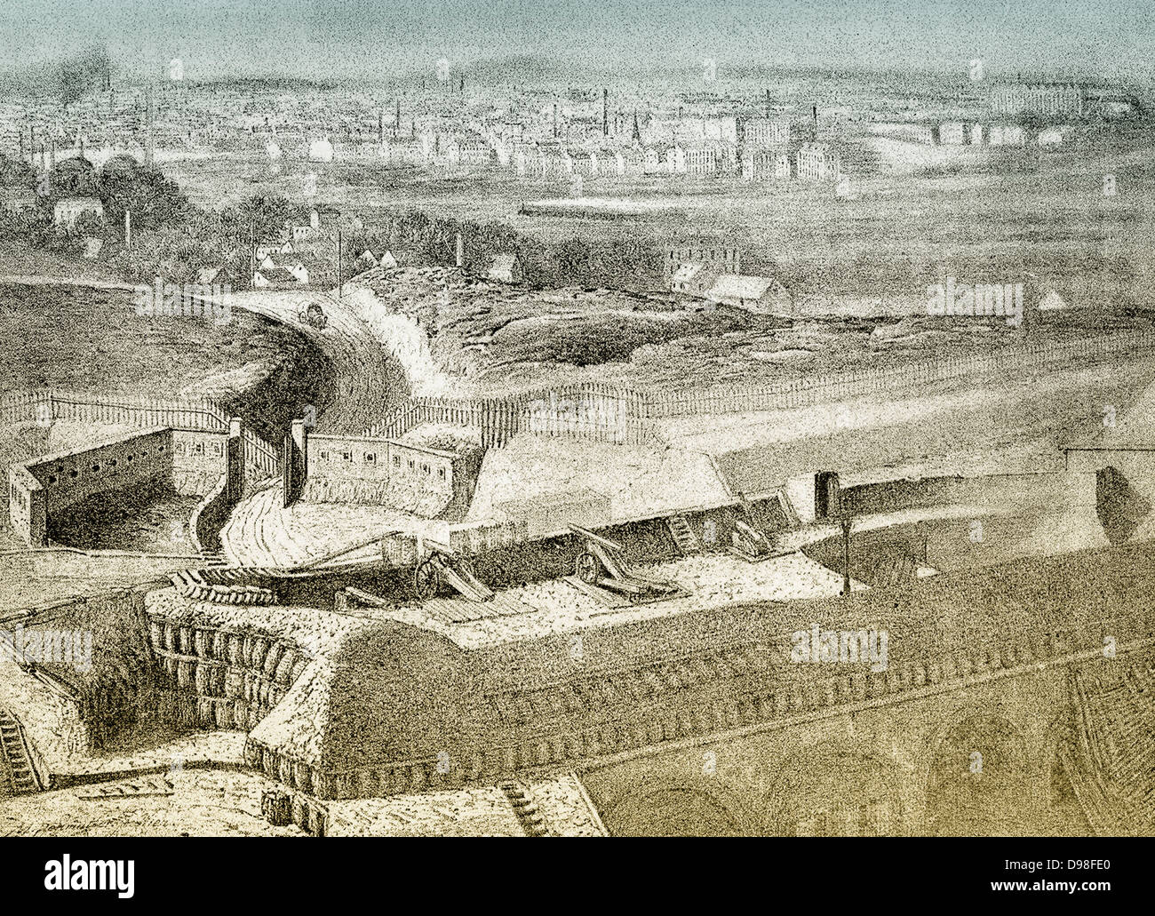 the fort ivry sur seine or d 39 ivry cityscape of paris 1870 stock photo royalty free image. Black Bedroom Furniture Sets. Home Design Ideas