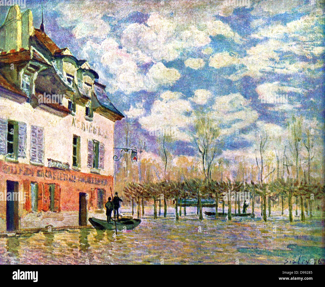 l 39 inondation port marly 39 flood at port marly 1876 oil on canvas stock photo royalty free. Black Bedroom Furniture Sets. Home Design Ideas