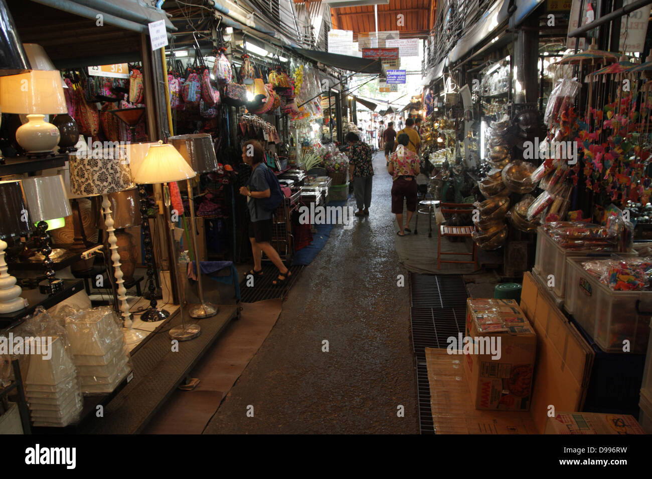 walkway near a home decor shop at chatuchak weekend market