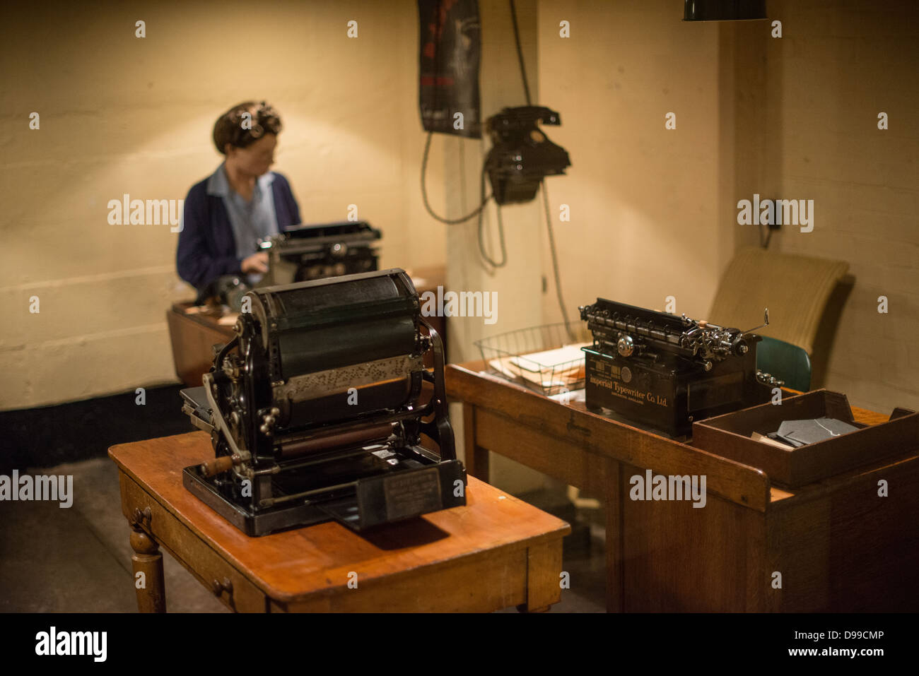 A manequin of a typist at work at the Churchill War Rooms in London ...