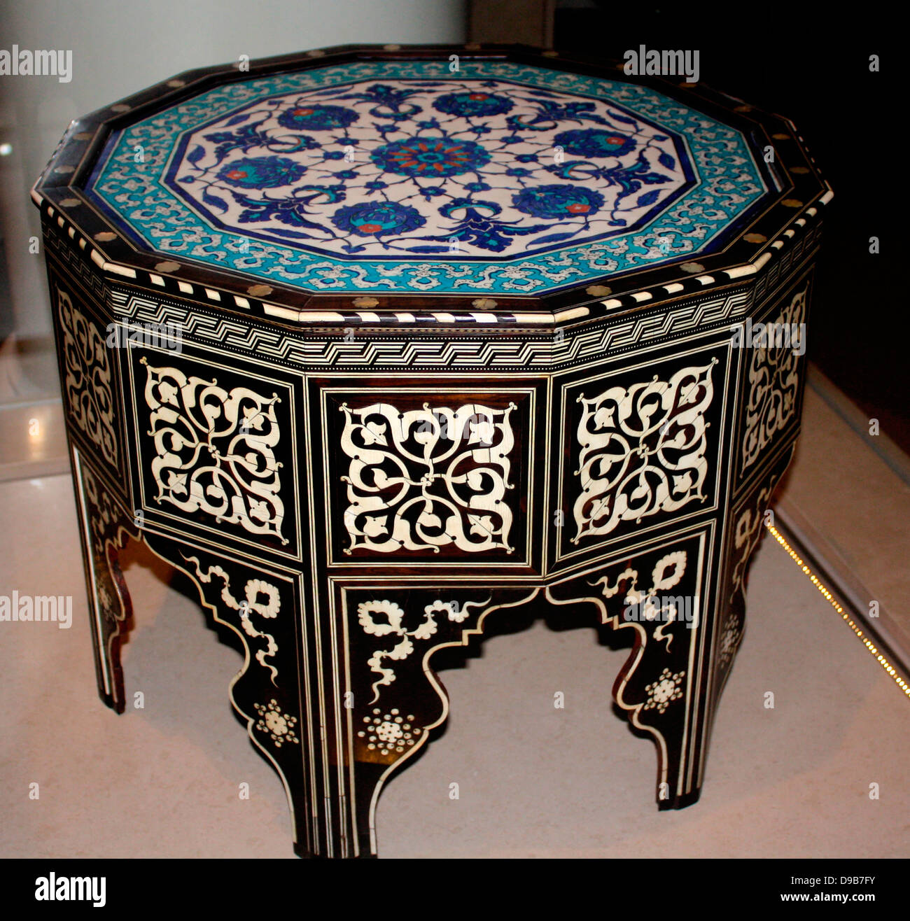 Tile Top Table. Wood Faced With Ebony, Inlay Of Ivory And Mother Of Pearl  Fritware Painted Under Glaze. Turkey, Iznik And