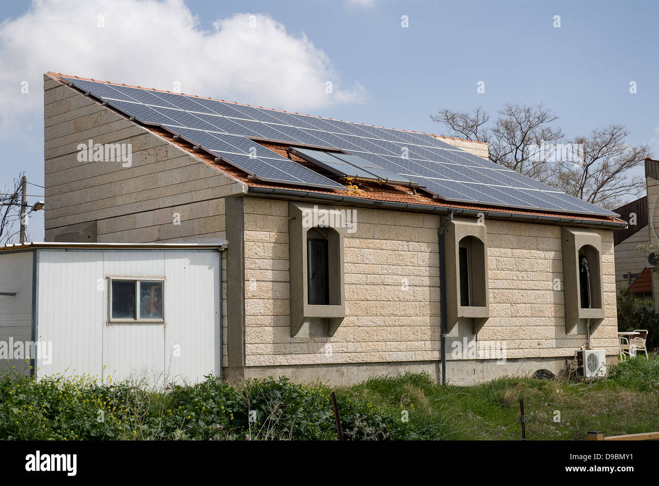 Solar panels for hot water and electricity provision in houses of ...