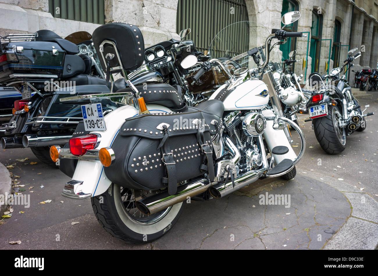 rouen france 15th june 2013 harley davidson bikes on an stock photo royalty free image. Black Bedroom Furniture Sets. Home Design Ideas