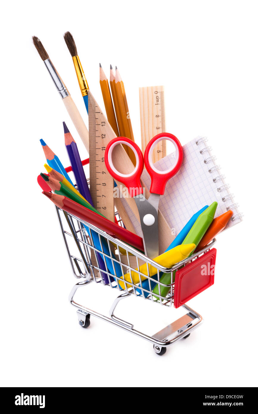 office drawing tools. School Or Office Supplies, Drawing Tools In A Shopping Cart H