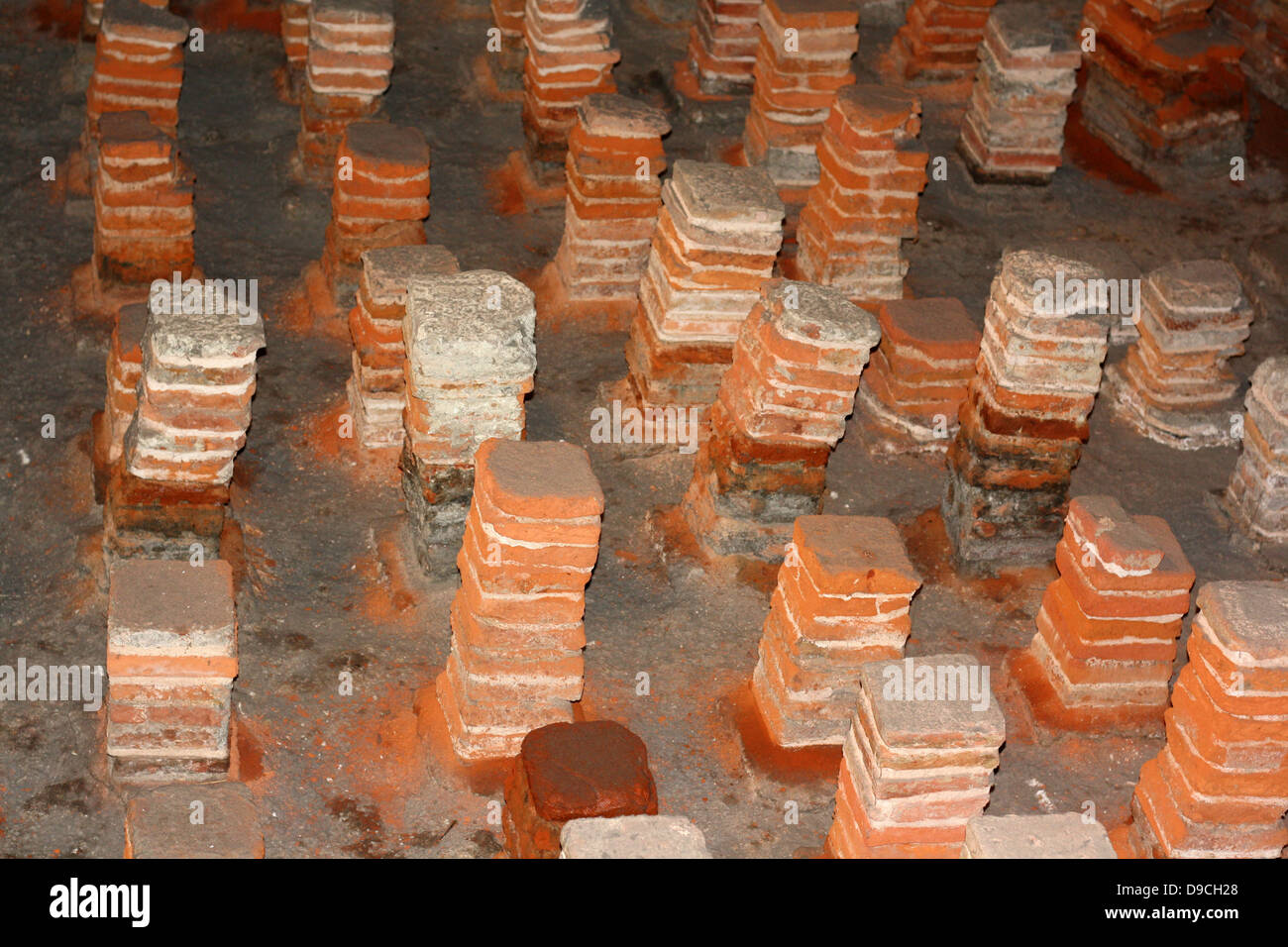 Hypocaust or under floor heating system ran through a series of hypocaust or under floor heating system ran through a series of channels supported by tiles at the roman baths at bath dailygadgetfo Image collections
