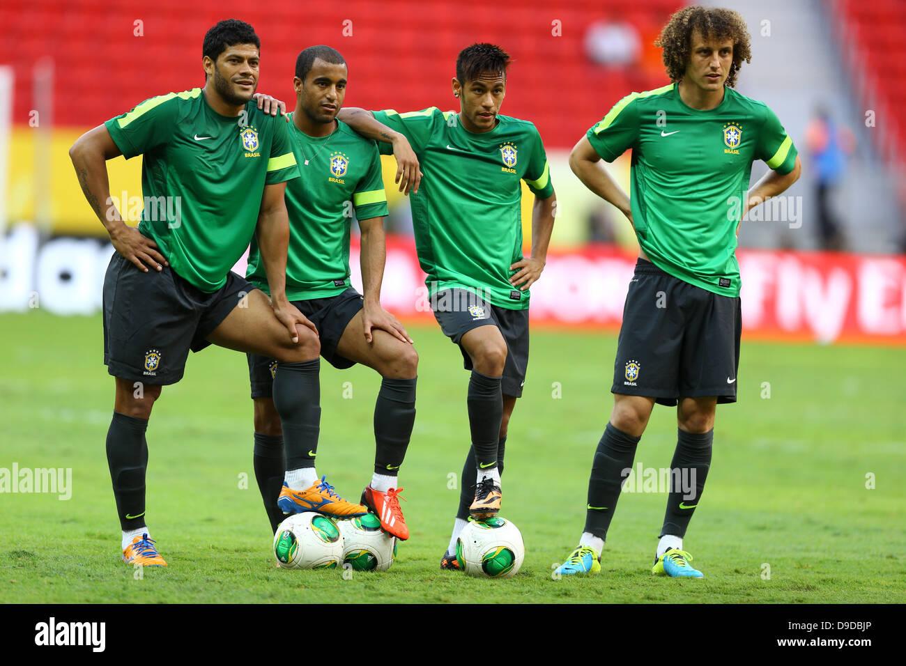 L R Hulk Lucas Moura Neymar David Luiz BRA JUNE 14 2013