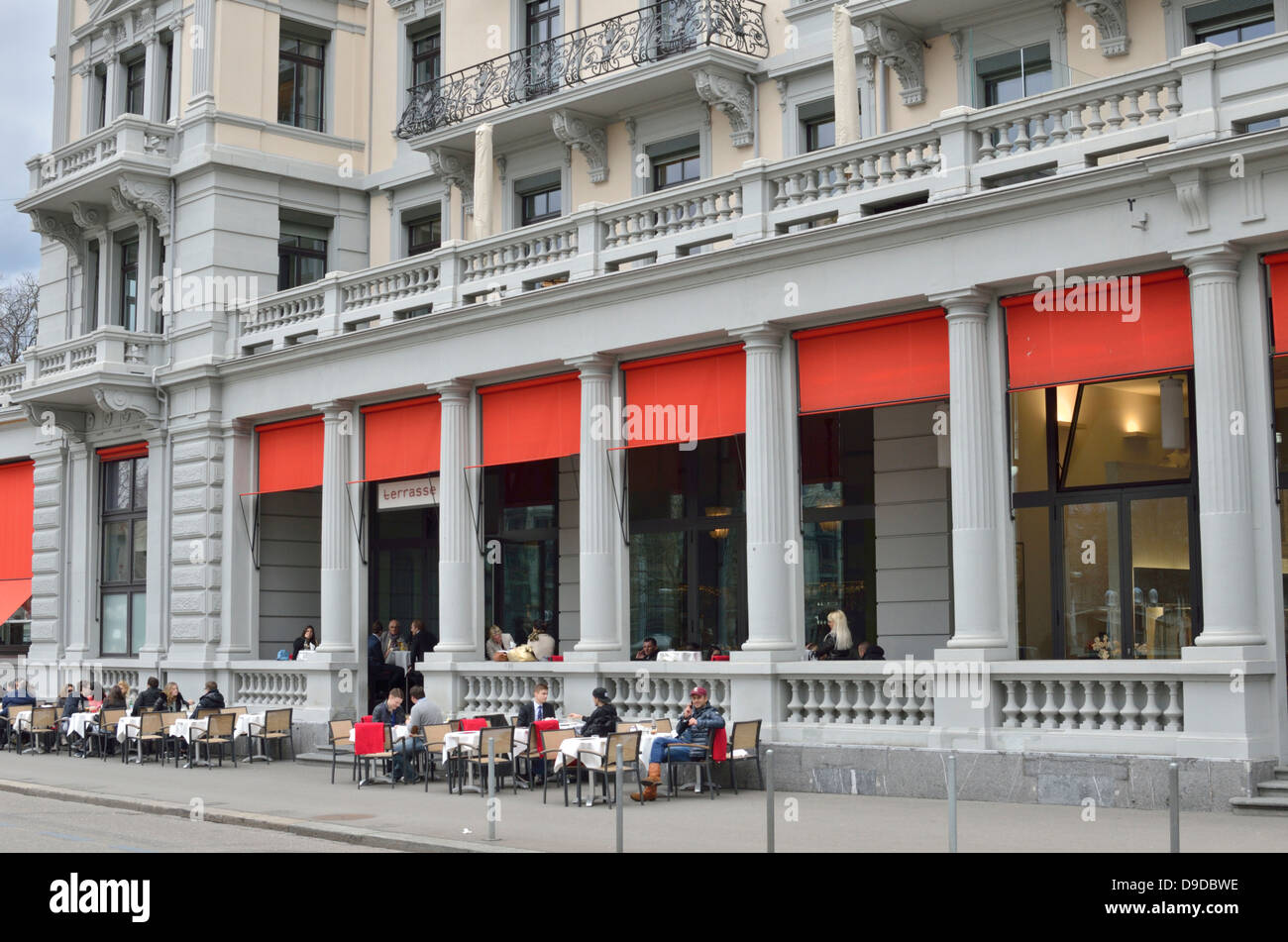 bar restaurant terrasse limmatquai zurich switzerland stockfoto lizenzfreies bild 57457722. Black Bedroom Furniture Sets. Home Design Ideas