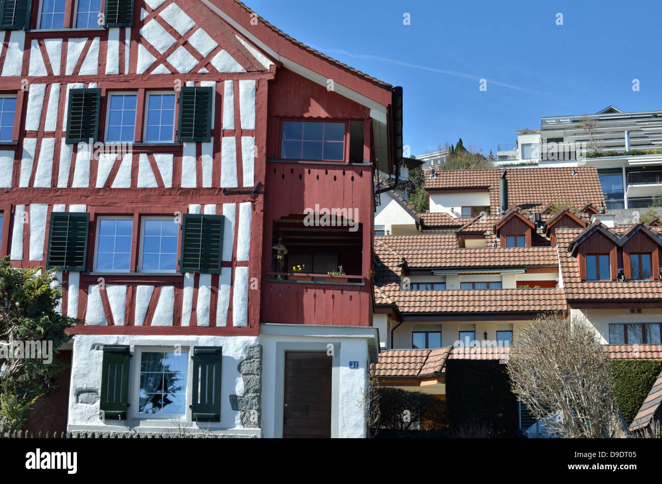 Contrast Between New And Traditional Swiss Architecture