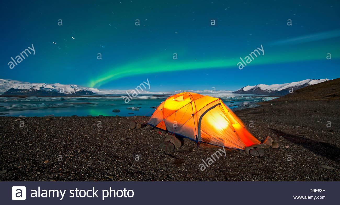 Northern lights over tent Jokulsa Loni Iceland & Northern lights over tent Jokulsa Loni Iceland Stock Photo ...