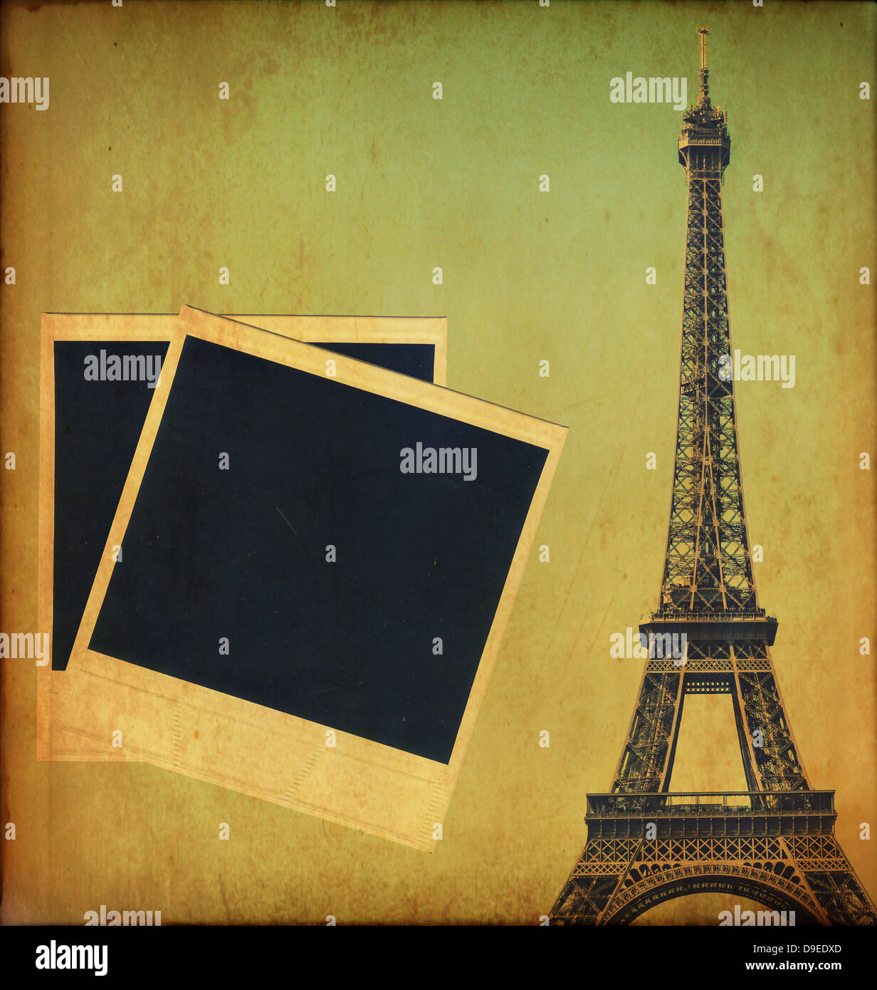 Vintage image of eiffel tower and blank photo frames stock photo vintage image of eiffel tower and blank photo frames jeuxipadfo Images