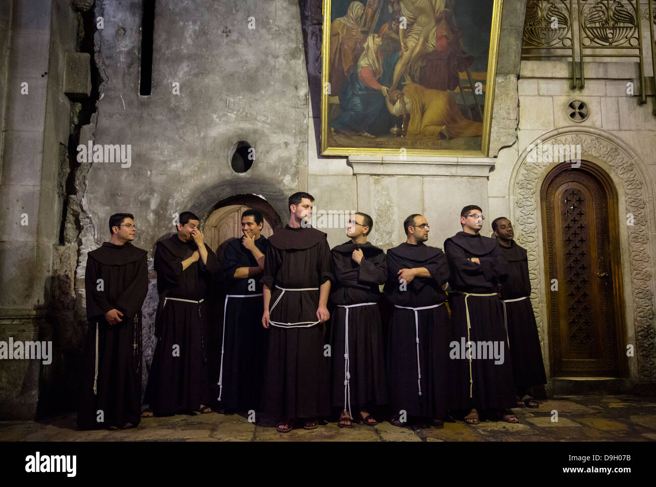 Franciscan Monks At The Church Of The Holy Sepulchre In