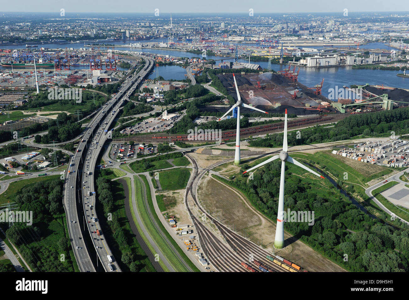 germany hamburg altenwerder two 6 mw enercon e 126 windmills infront stock photo royalty free. Black Bedroom Furniture Sets. Home Design Ideas