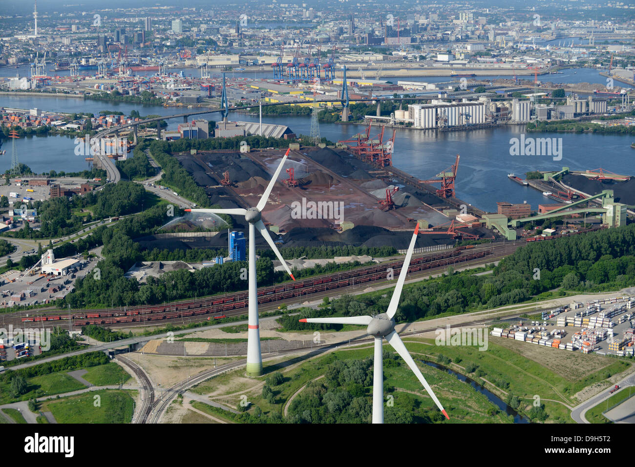 germany hamburg altenwerder 6 mw enercon e 126 windmills infront of stock photo royalty free. Black Bedroom Furniture Sets. Home Design Ideas