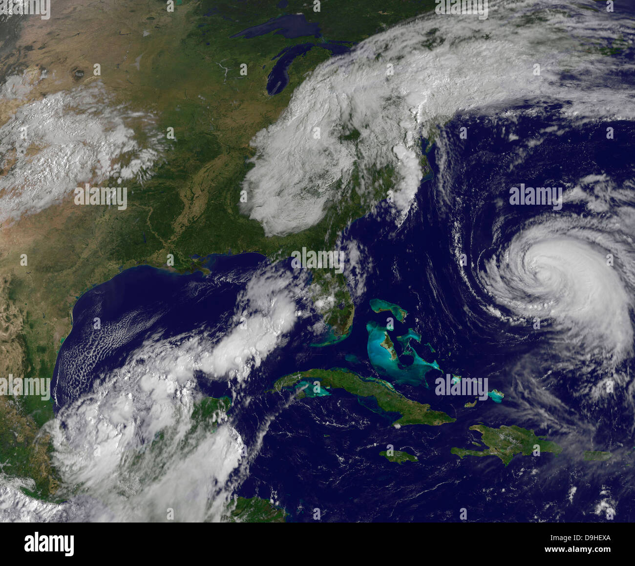 Satellite View Of Several Weather Systems In The Eastern United - World satellite view of weather