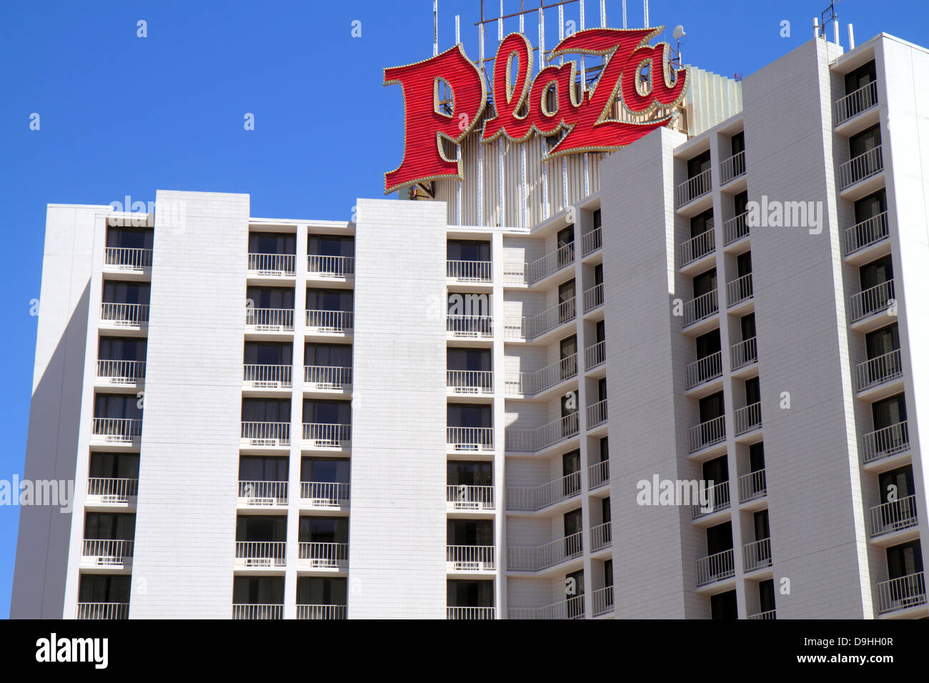 Nevada Las Vegas Downtown Plaza Hotel   Casino hotel neon sign balconies    Stock Image. Plaza Hotel   Casino Stock Photos   Plaza Hotel   Casino Stock
