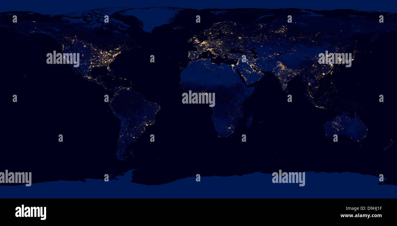 Flat Map Of Earth Showing City Lights Of The World At Night Stock - Earth at night map