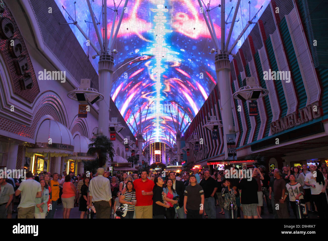 Nevada Las Vegas Downtown Fremont Street Experience pedestrian mall Viva Vision canopy light show night nightlife audience & Nevada Las Vegas Downtown Fremont Street Experience pedestrian ...