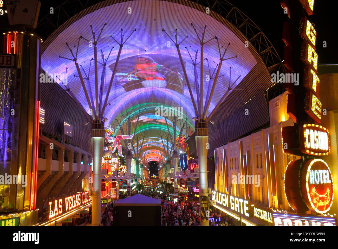 Nevada Las Vegas Downtown Fremont Street Experience pedestrian mall night nightlife neon signs Viva Vision canopy light show & Nevada Las Vegas Downtown Fremont Street Experience pedestrian ...