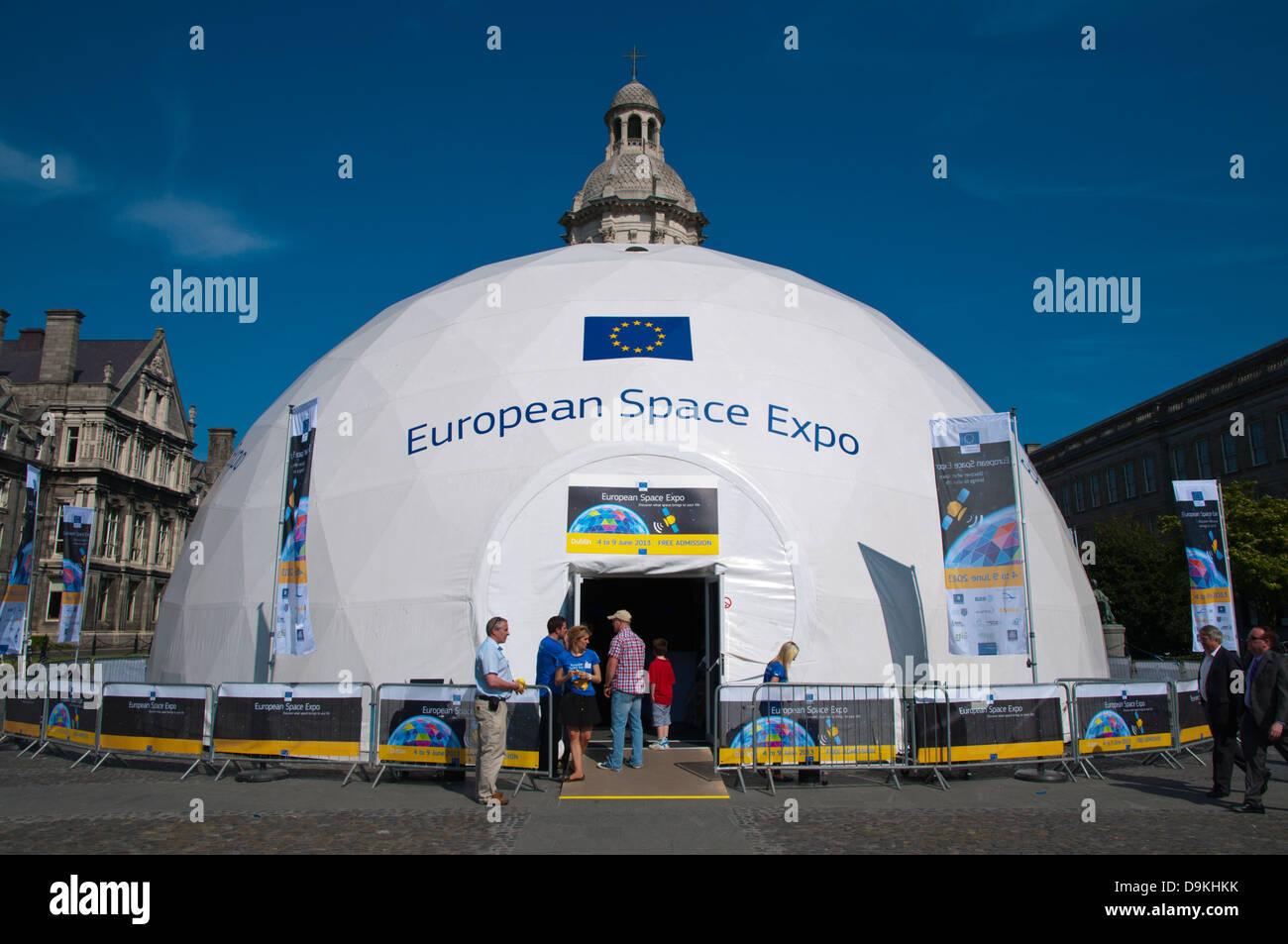 European Space Expo tent in Trinity college university area central Dublin Ireland Europe & European Space Expo tent in Trinity college university area ...