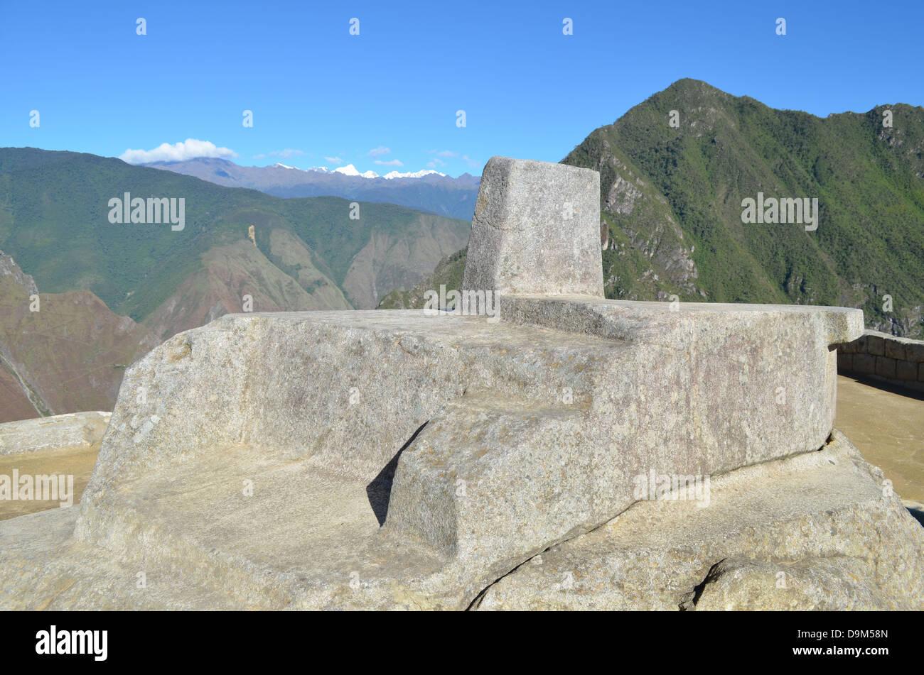 Mountain living near cusco peru royalty free stock photo - Stock Photo The Inti Watana A Sacred Ritual Stone At Machu Picchu Near Cusco Peru