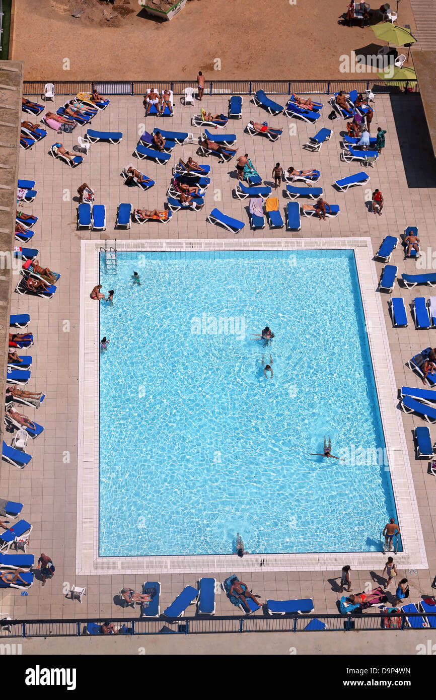 aerial view of swimming pool barcelona spain