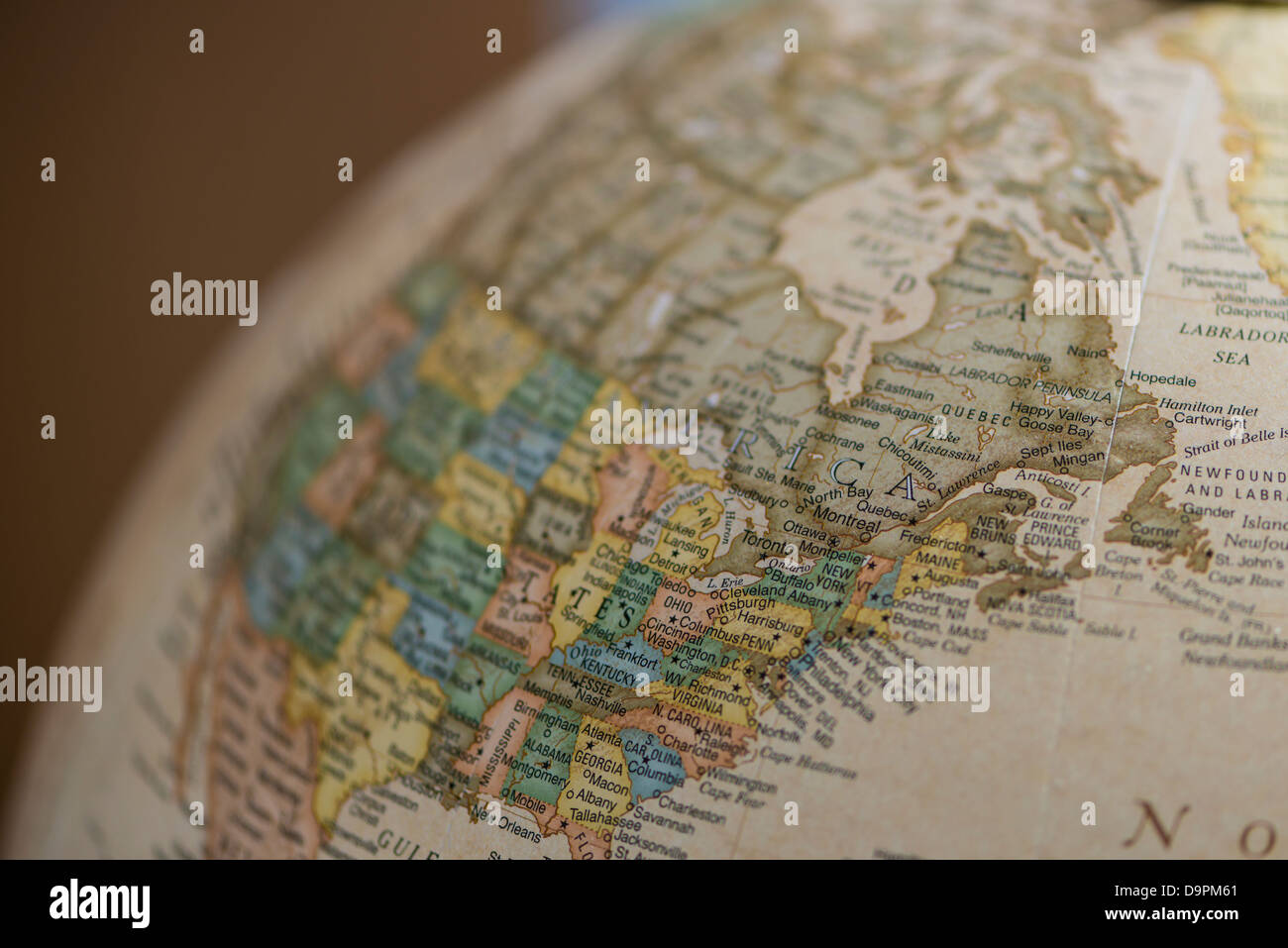 Corner of the globe showing North America including Canada and the