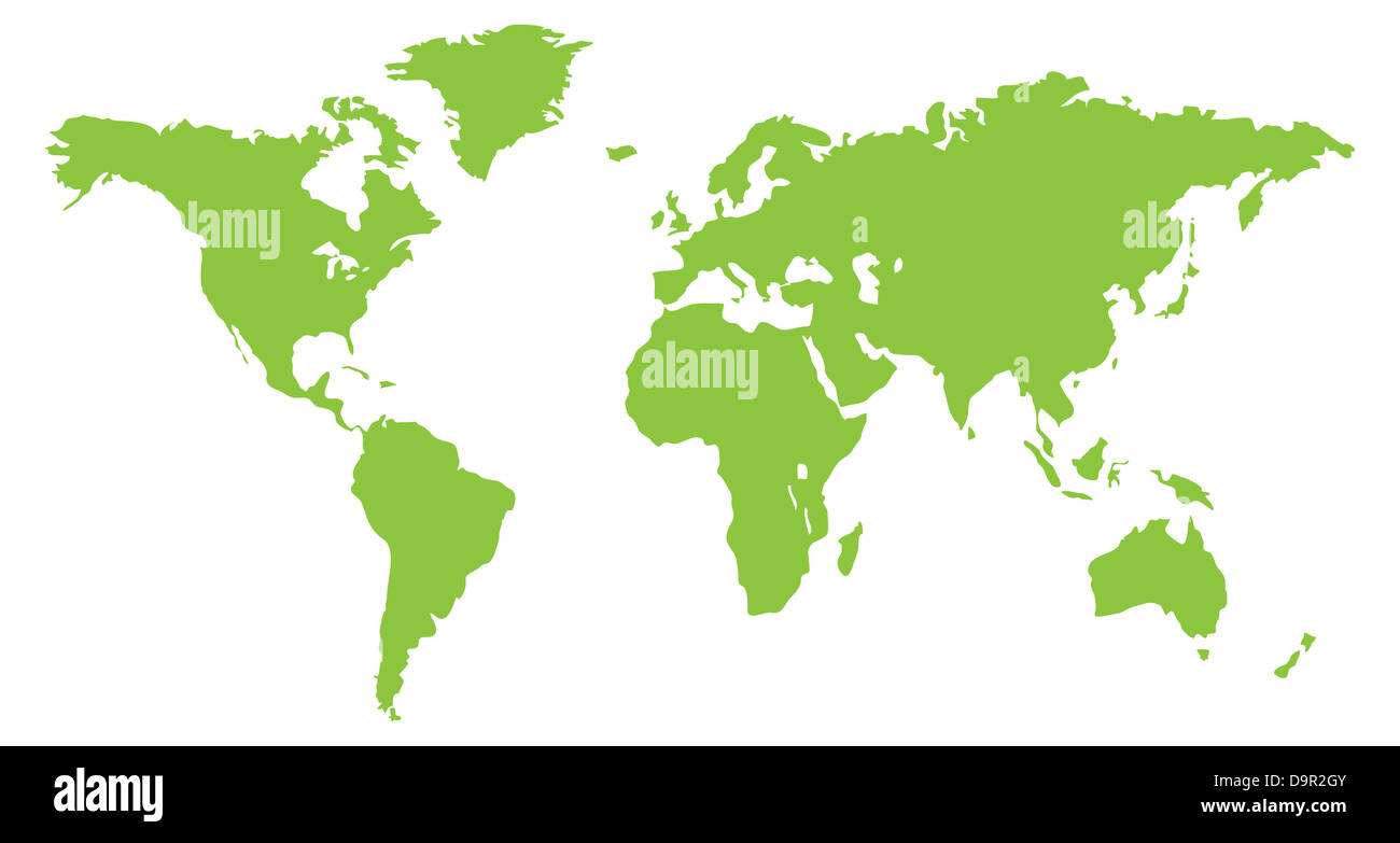 A World Continent Map In Green Stock Photo Royalty Free Image - World continent map