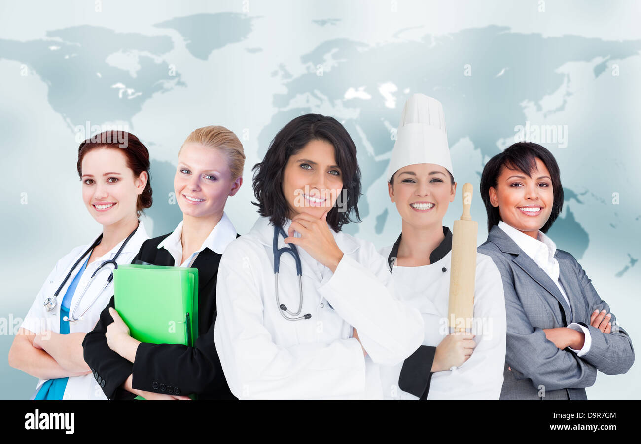 women in different careers smiling together stock photo royalty stock photo women in different careers smiling together