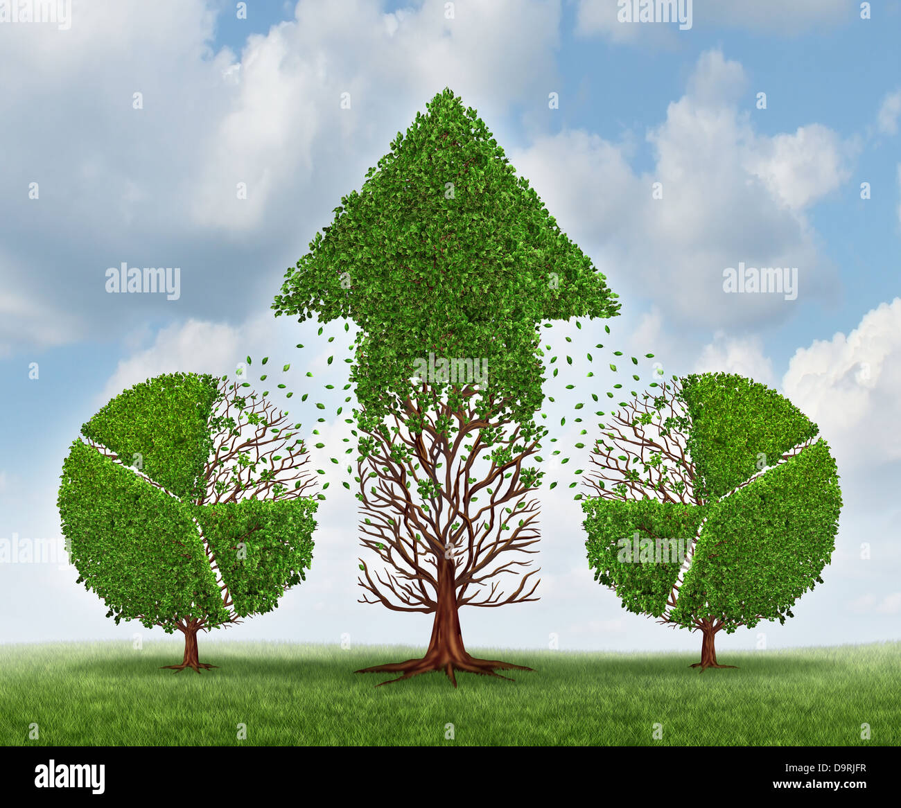 Finance Tree: Investing For Growth Business Concept With Trees Shaped As