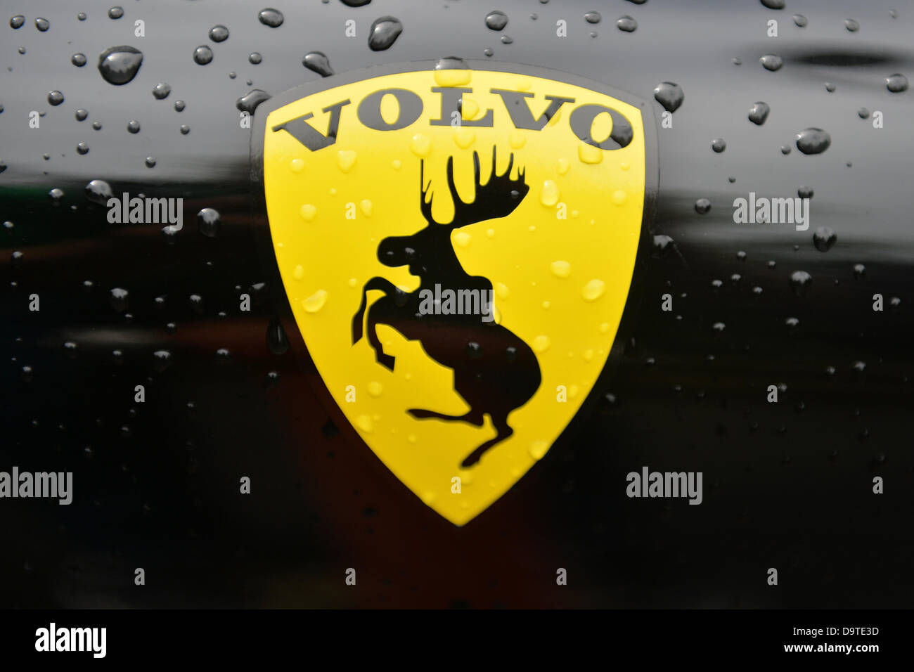 The logo sticker of Swedish car manufacturer Volvo, depcits a jumping Stock Photo, Royalty Free ...