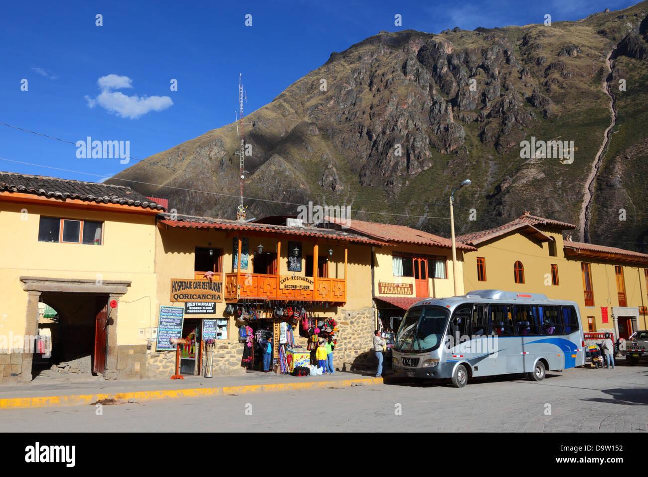 Mountain living near cusco peru royalty free stock photo -  Tour Bus In Plaza De Armas Ollantaytambo Sacred Valley Near Cusco Peru