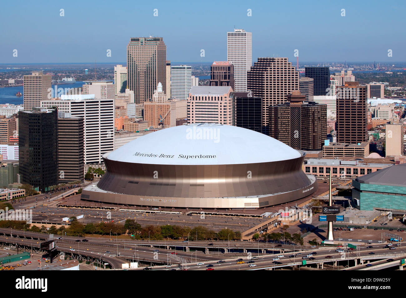aerial of downtown new orleans louisiana with the