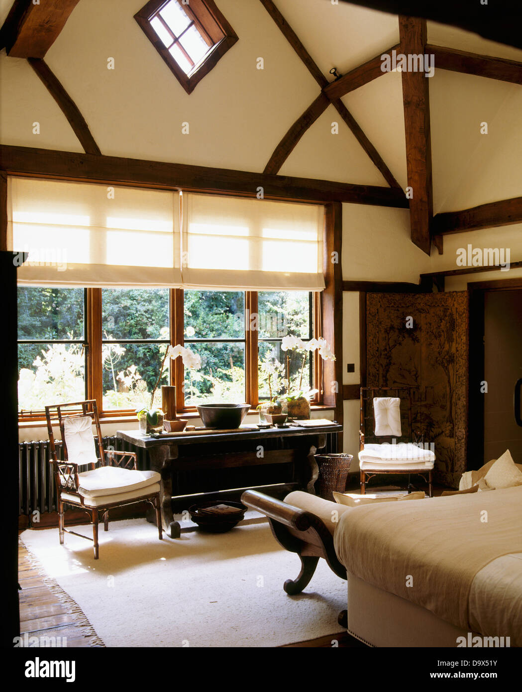 Tudor Style Beams And High Vaulted Ceiling In Country