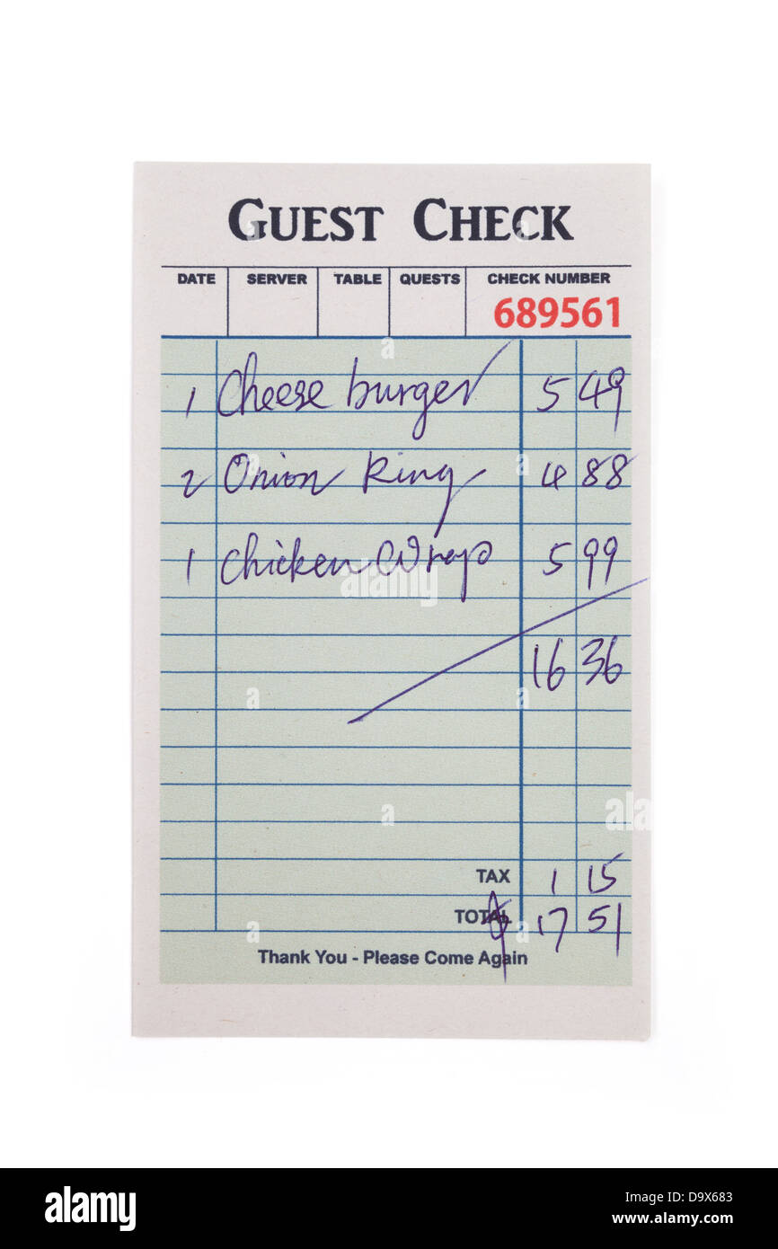 Guest Check, concept of restaurant expense Stock Photo, Royalty ...