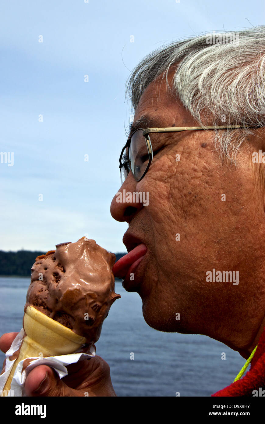 Chinese Man Eating Baby Size Chocolate Peanut Butter Chunk Ice Cream Cone Discovery Fishing Pier Food Concession Stand