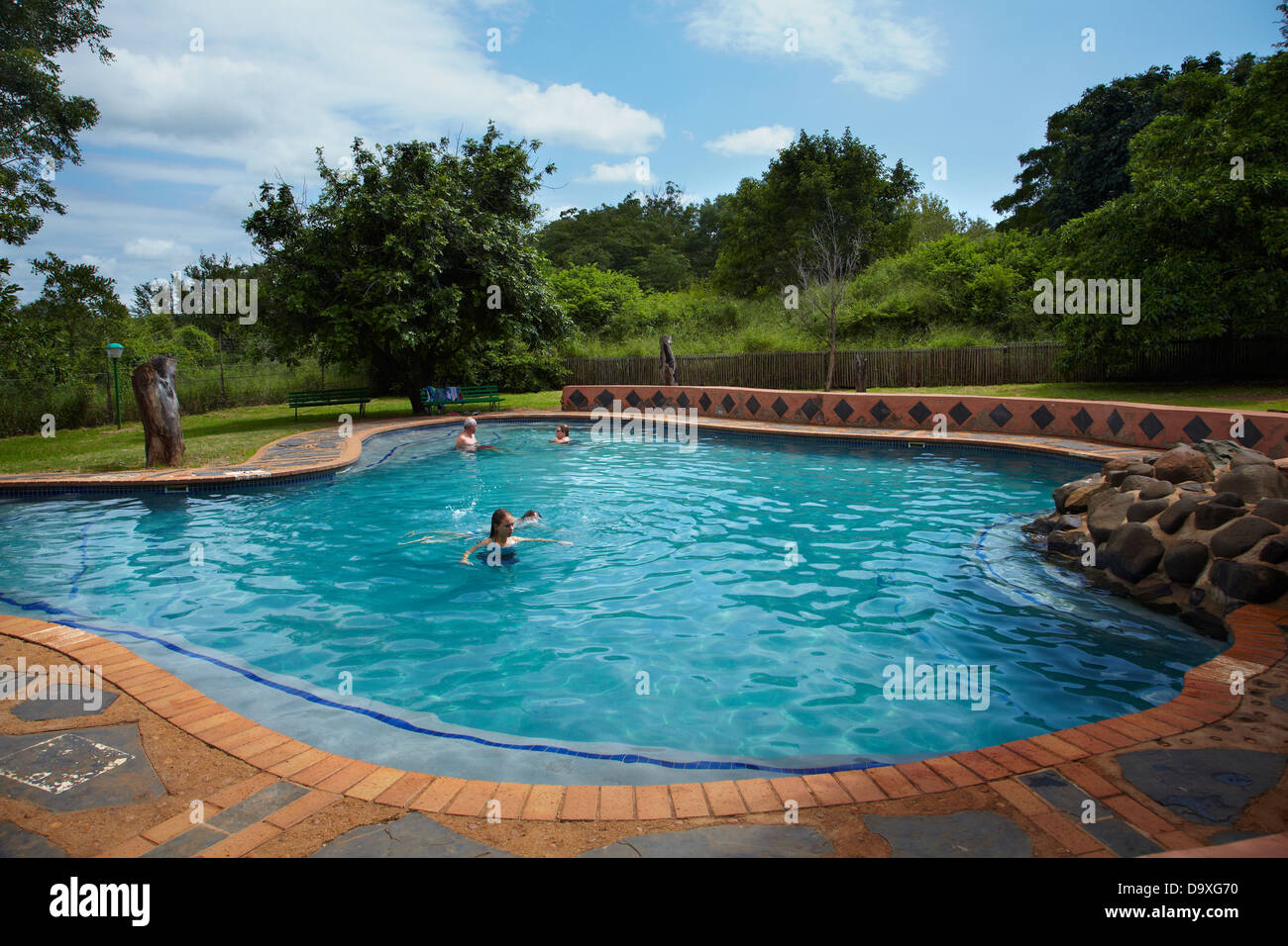 swimming pool lower sabie rest camp kruger national park south stock photo royalty free
