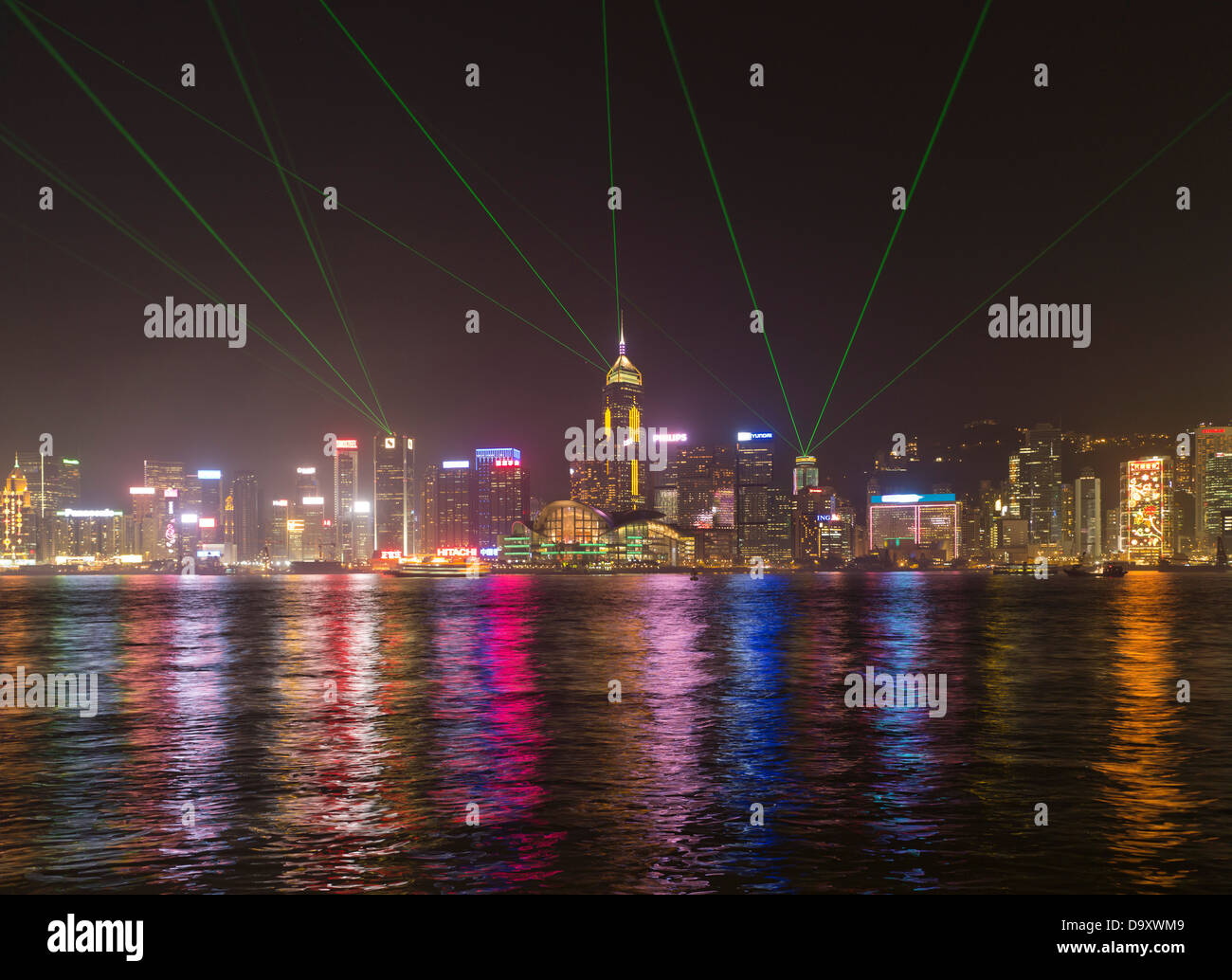 Dh Hong Kong Harbour CENTRAL HONG KONG Symphony Of Lights Laser Show Wanchai  Waterfront Skyscrapers At Night