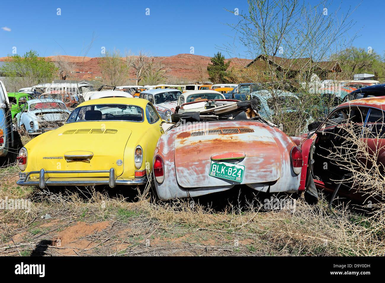 Scrap yard full of Volkswagen cars and vans. Near Moab, Utah, USA ...