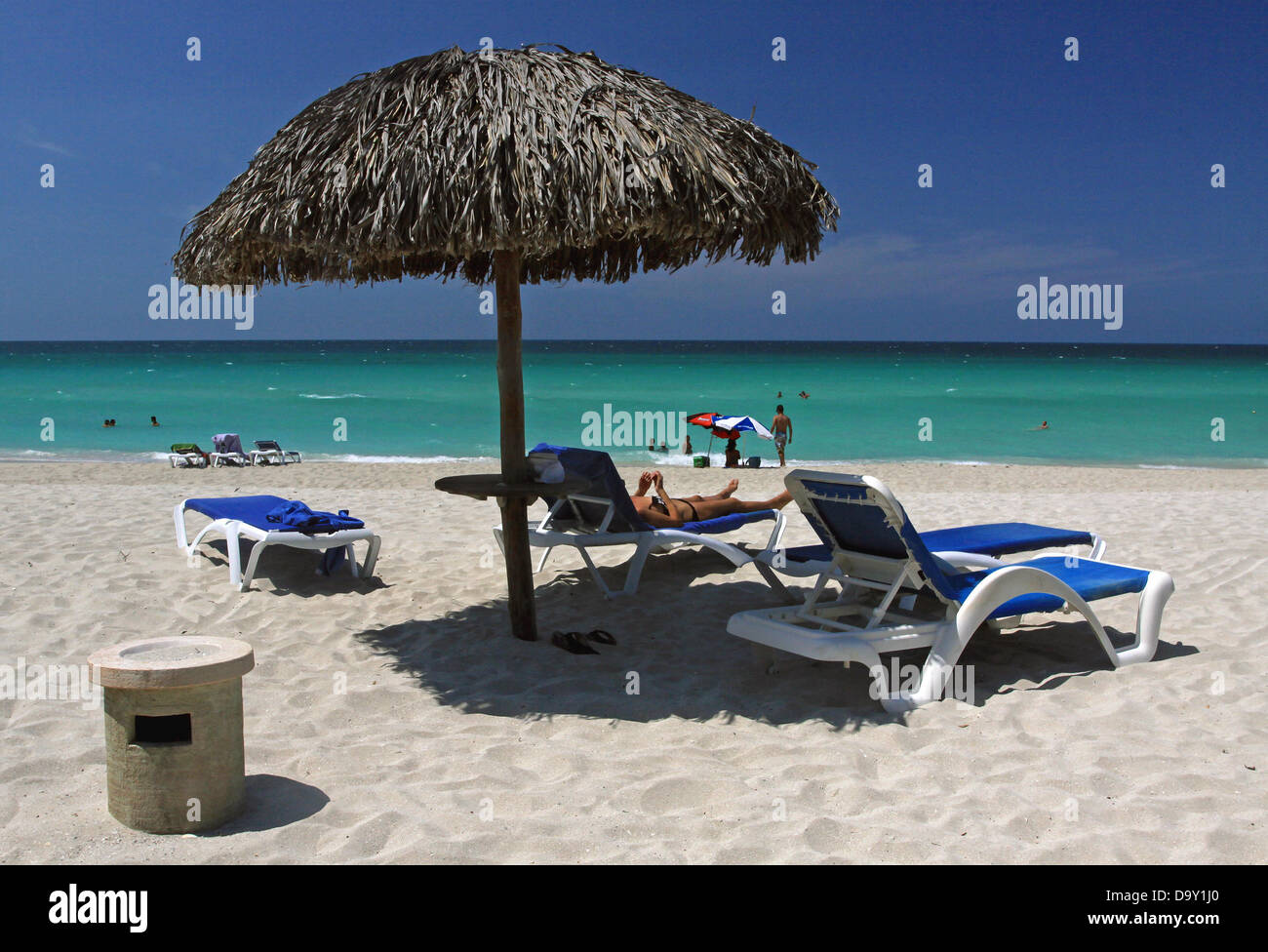 Best beach chair 2013 - Parasol With Beach Chairs On The Beach Of Varadero Cuba 19 April 2013 Photo Peter Zimmermann