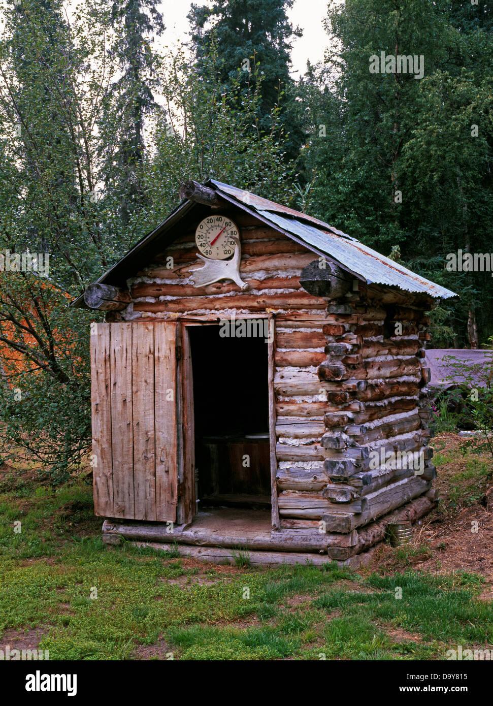 Usa Alaska Anvik River Lodge Log Outhouse By Trapper