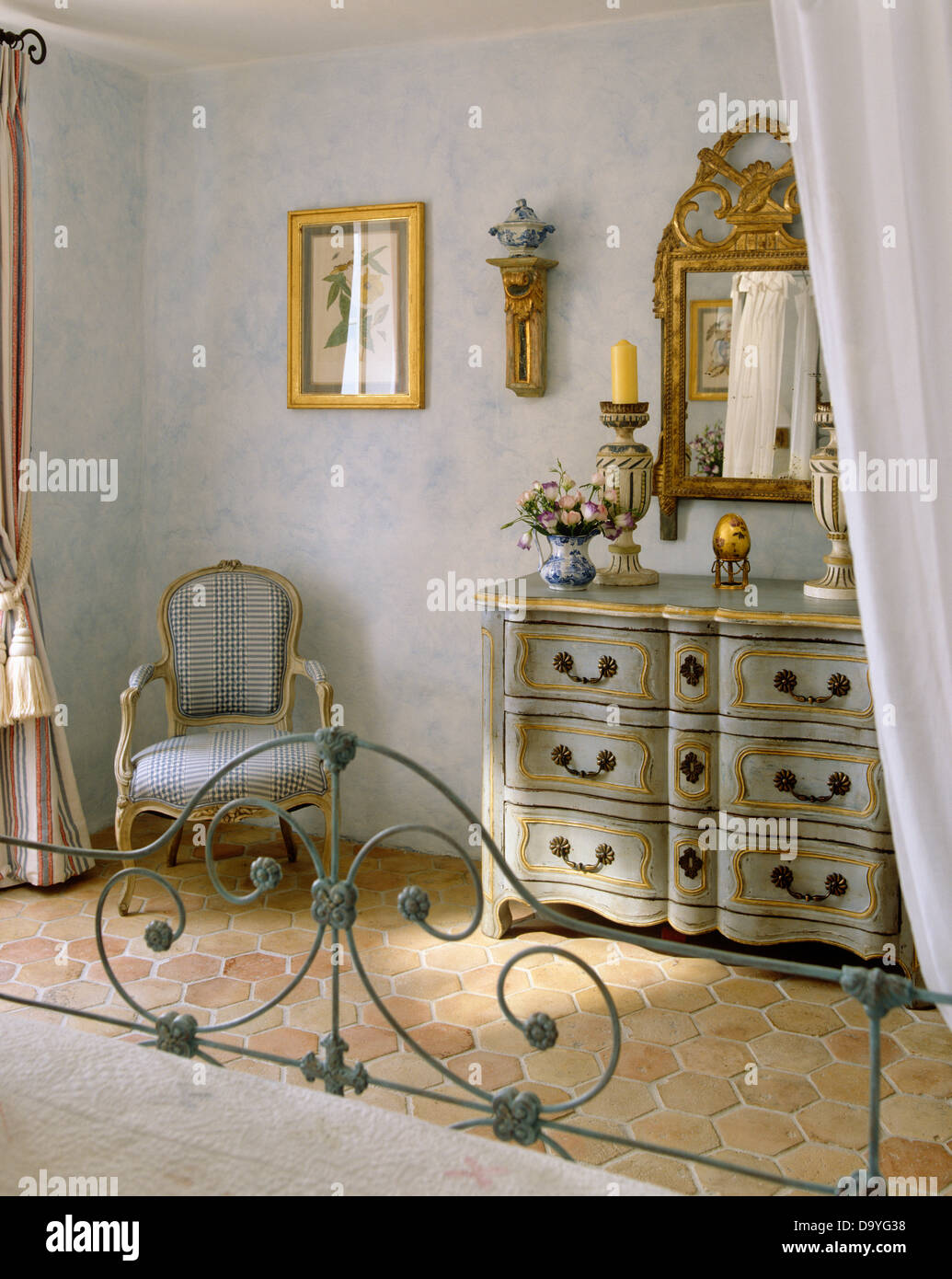 Pale Bedroom Wrought Iron Bed In Pale Gray French Country Bedroom With Ornate