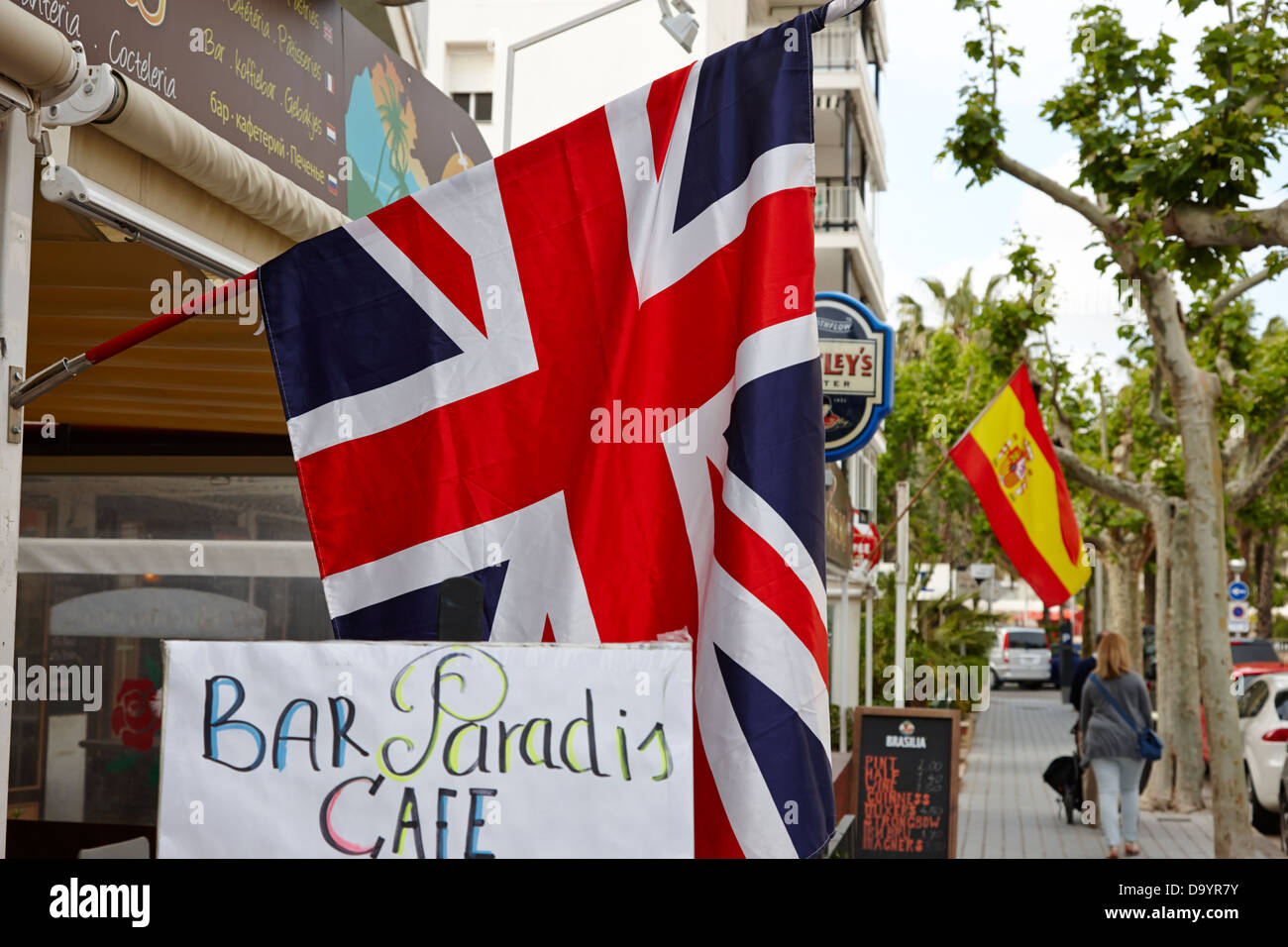 british union flag hanging outside spanish pub in salou catalonia