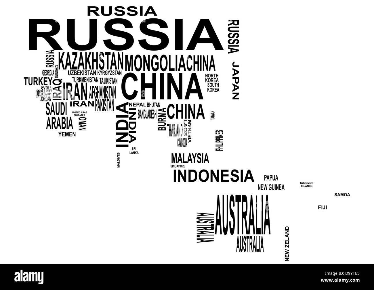 illustration of asia and oceania map with country name Stock Photo