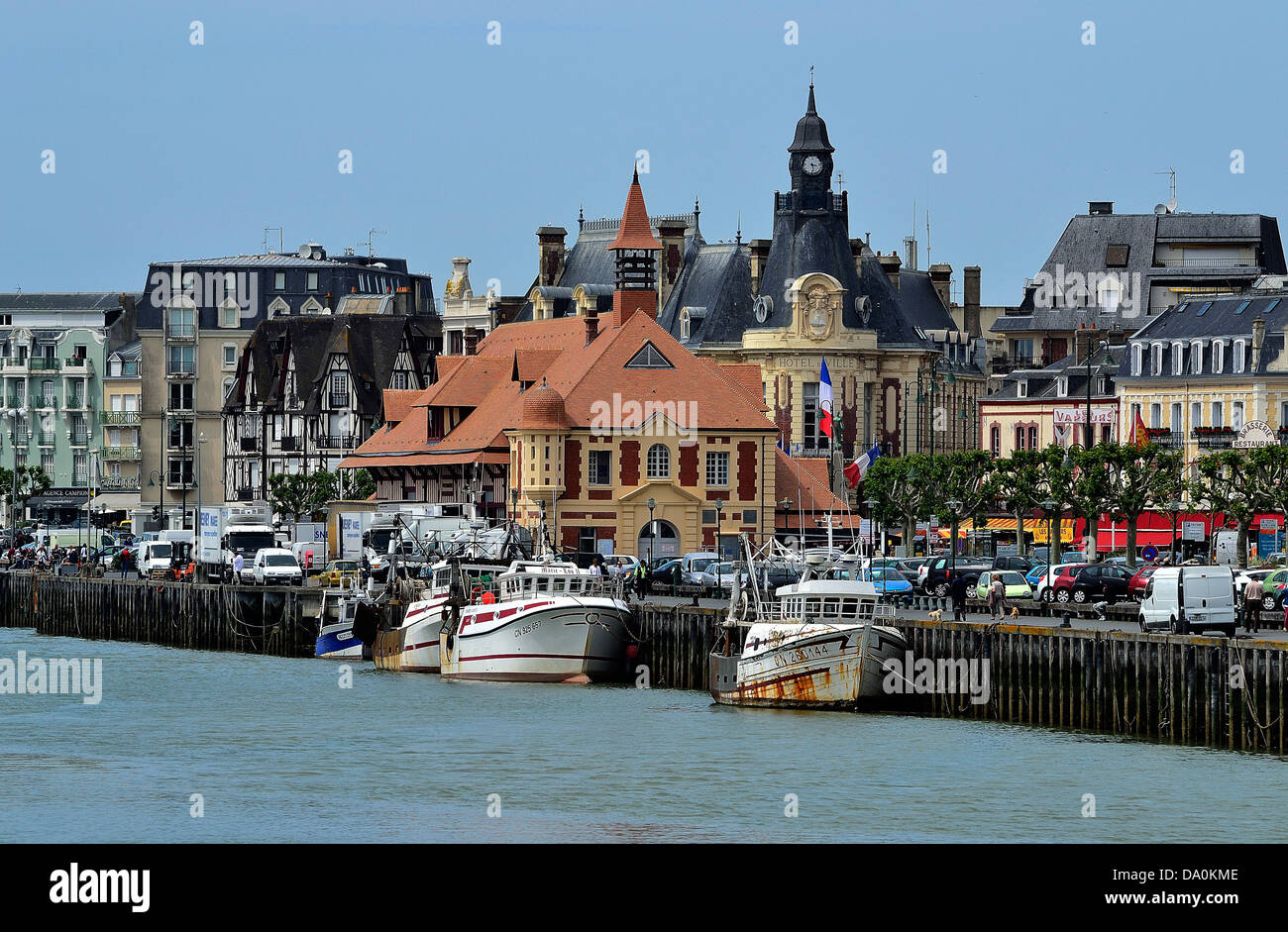 port of trouville sur mer touques river town hall in the background stock photo royalty free. Black Bedroom Furniture Sets. Home Design Ideas