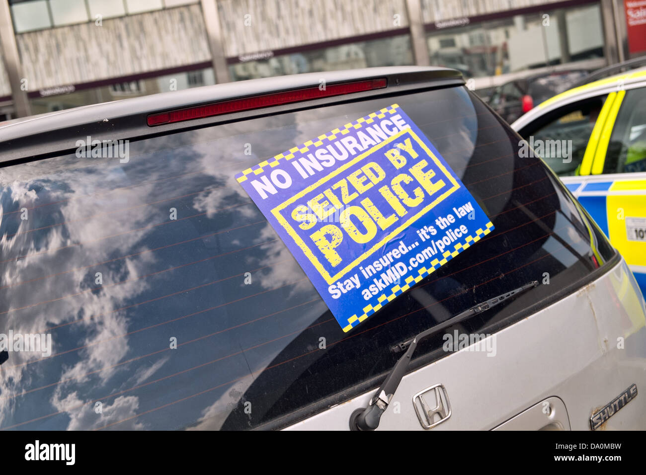 A Sticker On A Car In The UK Seized By The Police For Being Stock - Window stickers for cars uk